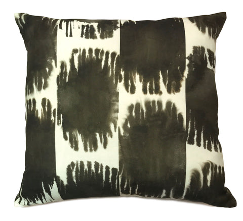 Soleil Ikat Pillow, Large Spots in Ink