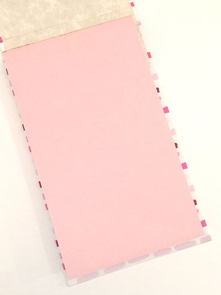 Brush Dashed Stripe Refillable Memo Pad in Pink, Pen + Ink Collection