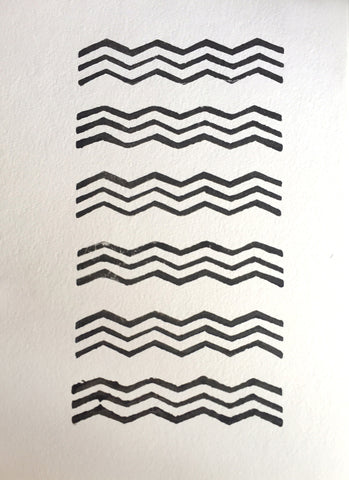 Triple Chevron Watery Block Print, solid