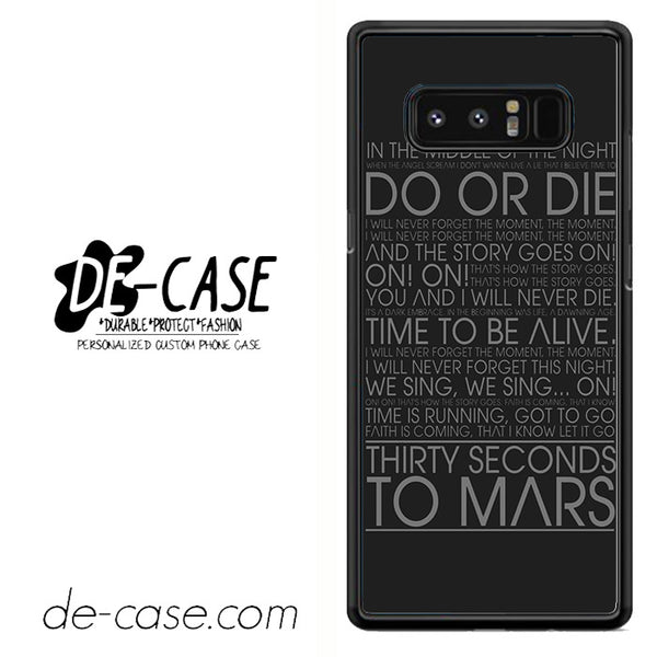 30 Seconds To Mars Do Or Die Lyrics DEAL-30 For Galaxy Note 8 Case
