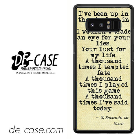 30 Seconds To Mars Lyrics Unique DEAL-43 For Galaxy Note 8 Case