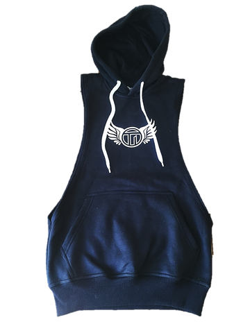 TI Muscle Fit Sleeveless Black Hoodie