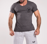 TI Signature Wide Neck T-Shirt - Charcoal