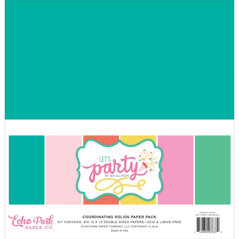 Echo Park-12X12 Collection Kit- Let's Party- Solids