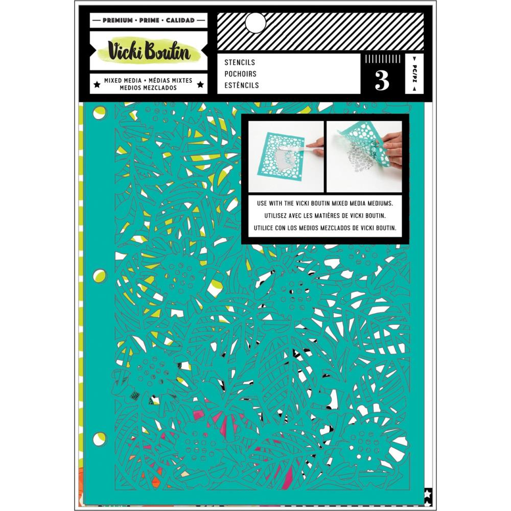 Vicki Boutin Mixed Media Stencils 3/Pkg- Botanicals