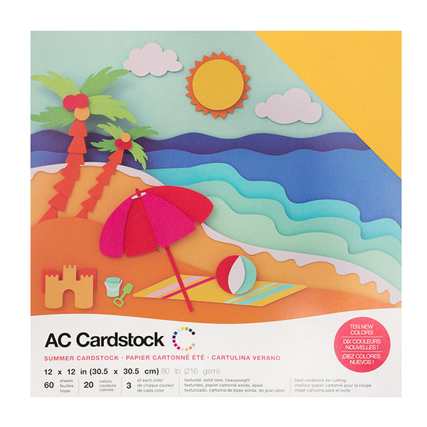 American Crafts-12X12 Cardstock -Variety Pack (60pk) -Summer