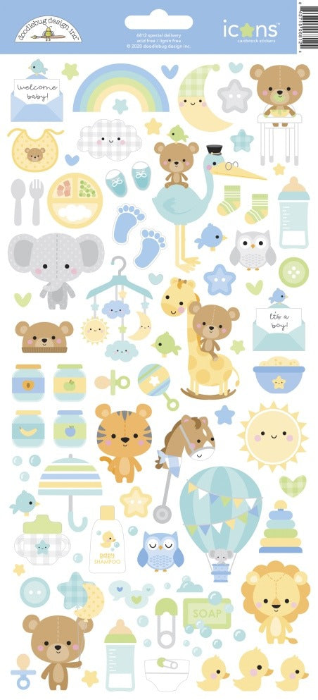 New Arrival - Doodlebug Designs - Icon Cardstock Stickers- Special Delivery