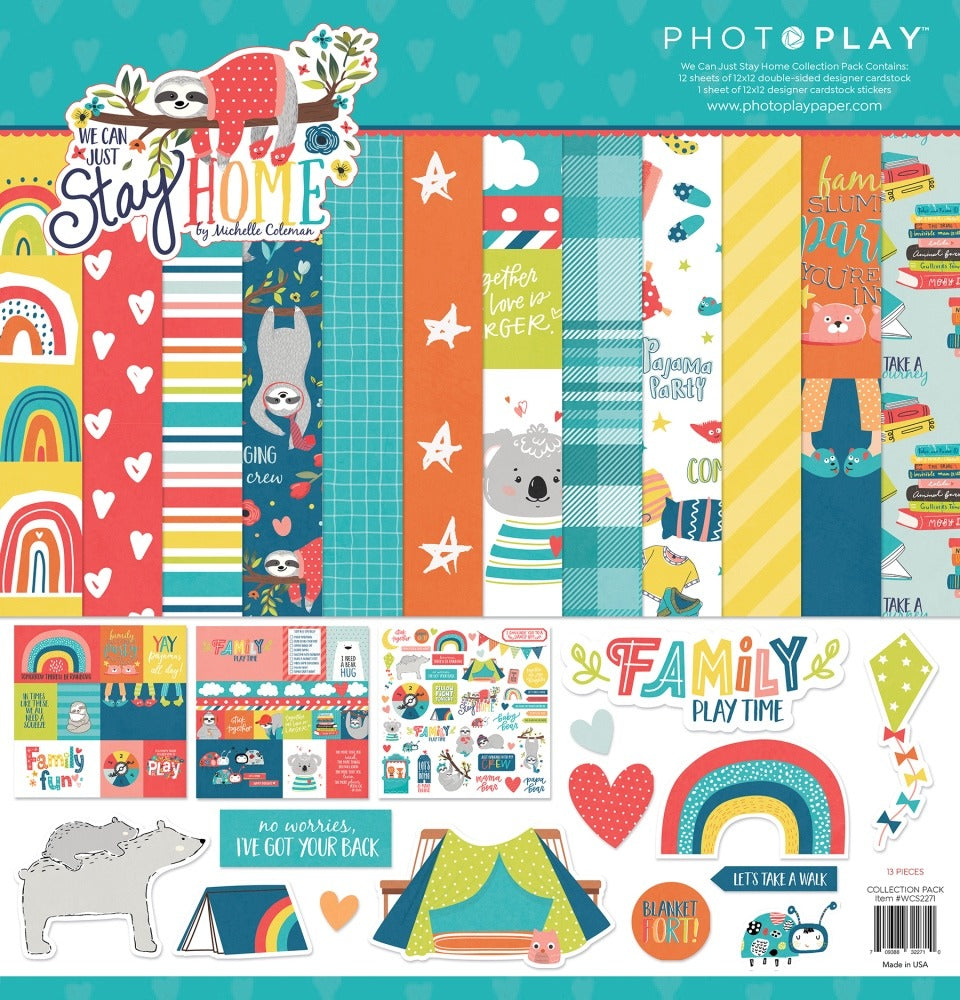 PRE-ORDER!  Photo Play-We Can Just Stay Home-12X12 Paper Pack
