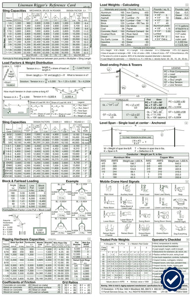 Lineman Rigger Reference Card (Pocket Size)