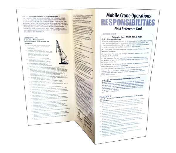 Mobile Crane Operations Responsibilities Card (ASME B30.5)