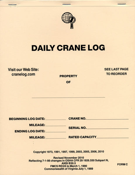 Crane Maintenance Log Book