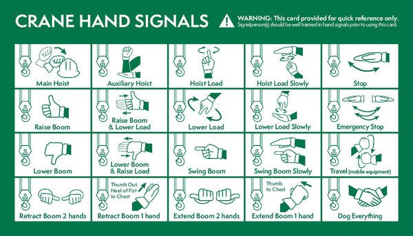 Crane Hand Signal Card (English & Spanish)