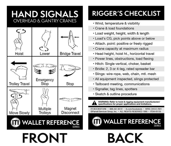 Overhead & Gantry Crane Hand Signal Cards (Wallet Size)