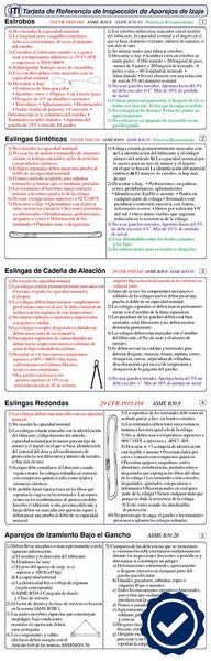 Rigging Gear Inspection Reference Card (Spanish)