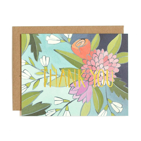 Floral Foil Thank You Greeting Card