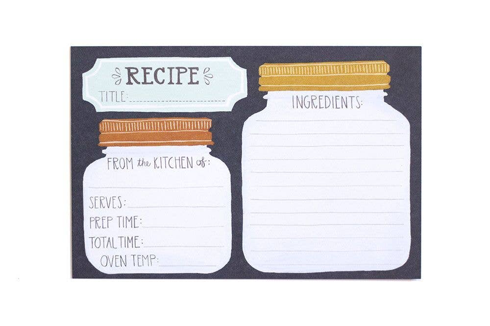 Mason Jar Recipe Card Set of 50