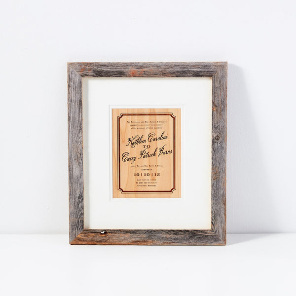 Personalized Invitation Etch + Barn Wood Frame