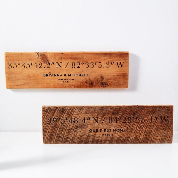 Personalized Coordinates Barn Wood Plaque