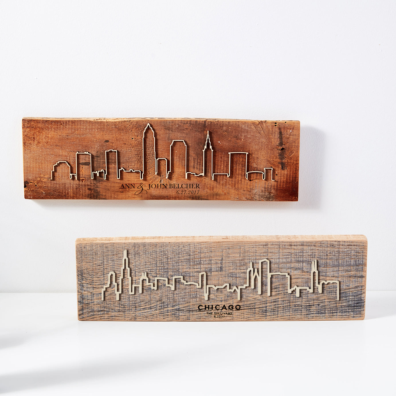 Personalized Reclaimed Barn Wood City Scape