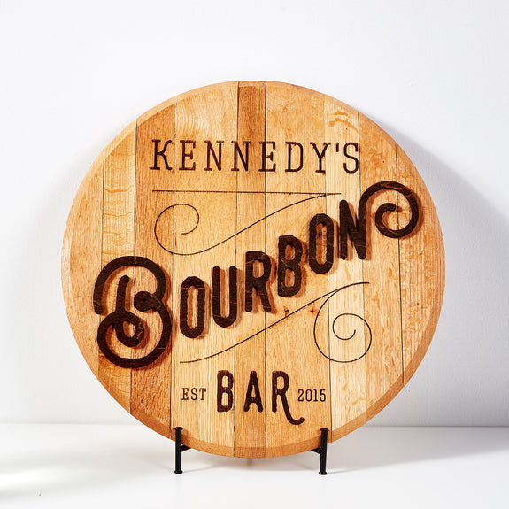 Personalized Bourbon Bar Barrel Head