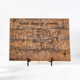 USA Pin Your Travels Barn Wood Map