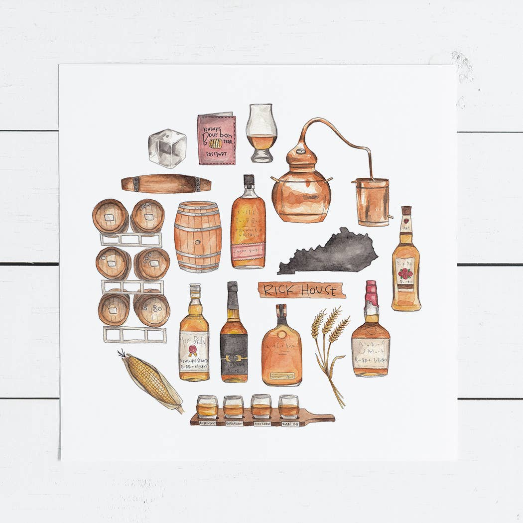 Bourbon Icon Watercolor Illustration