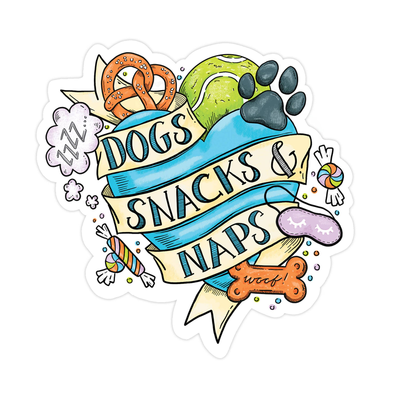Dogs Snacks Naps Sticker