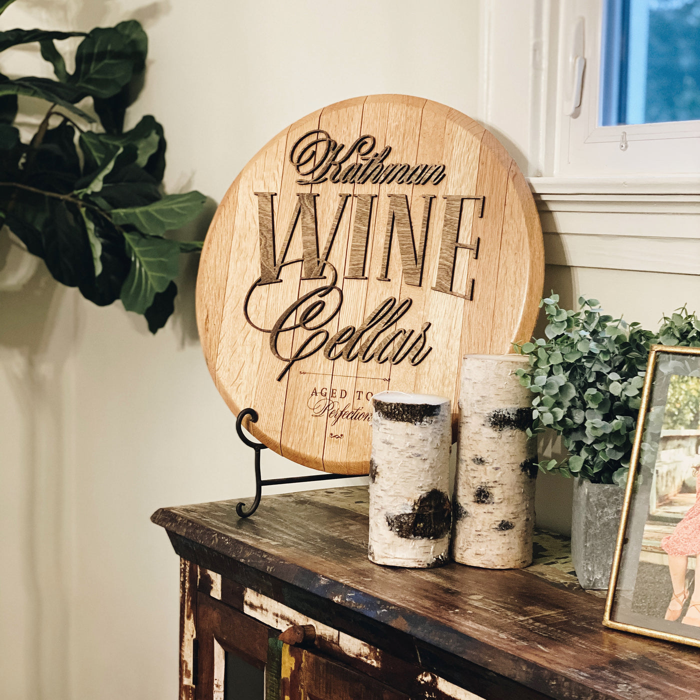 Personalized Wine Bar or Cellar Barrel Head