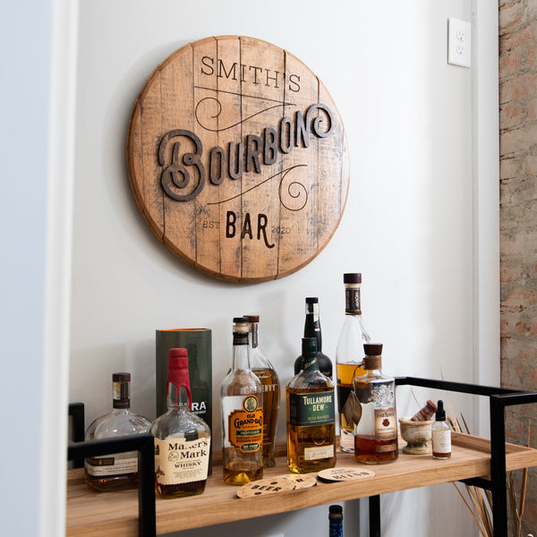 Personalized Bourbon Bar Barrel Top