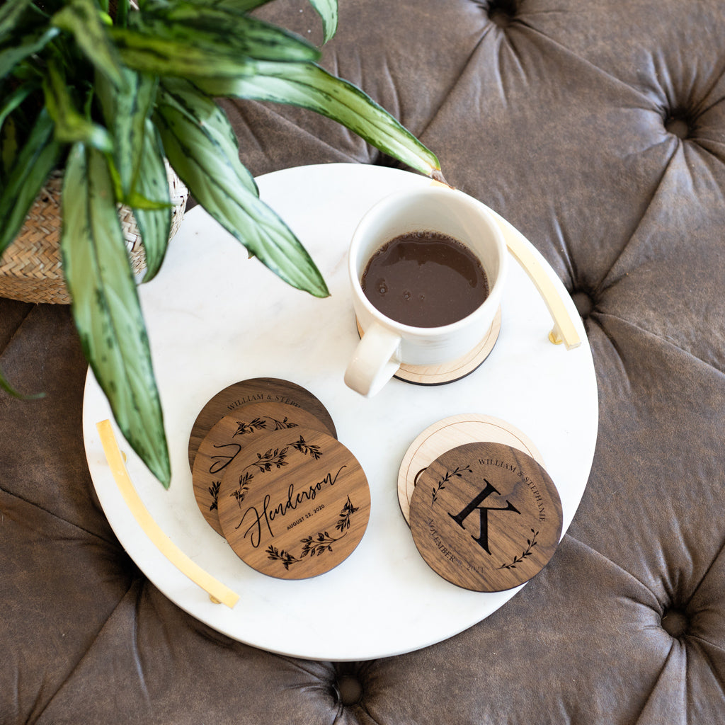 Personalized Greenery Coasters [Set of 4]