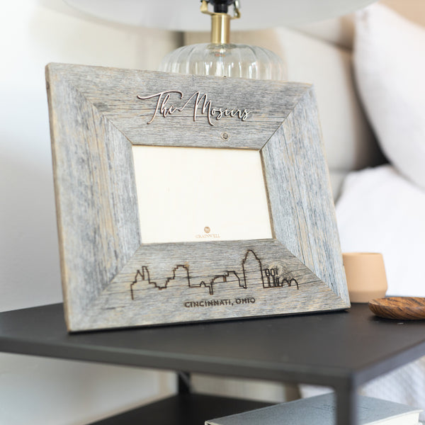 Personalized City Skyline Barn Wood Frame
