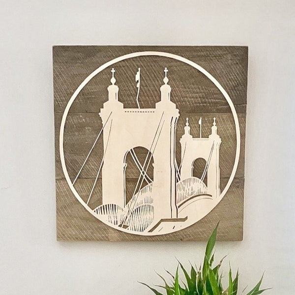 Circle Roebling Bridge on Reclaimed Wood