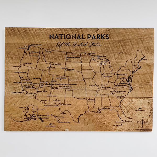 National Park Pin Your Travels Barn Wood Map