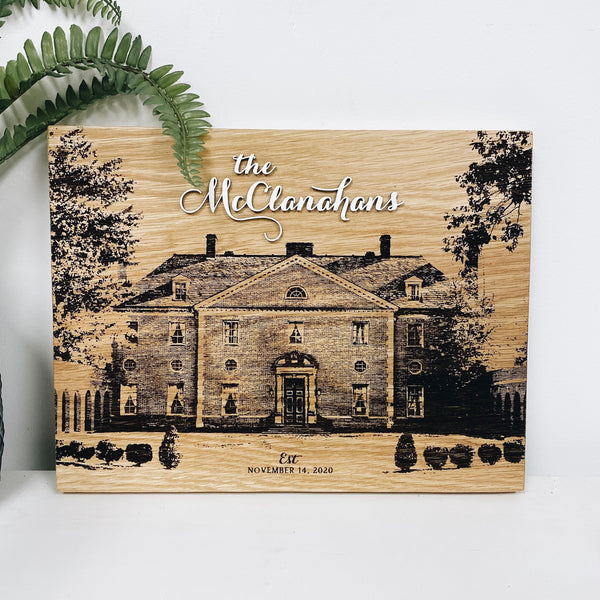 Personalized House Hard Wood Sign with Layered Text