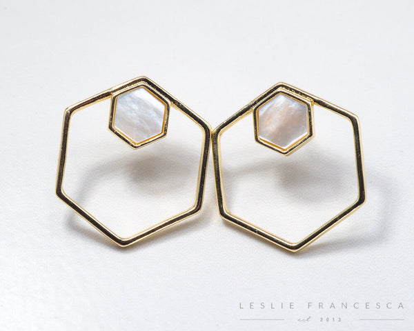 Hexagon Stud Hoops