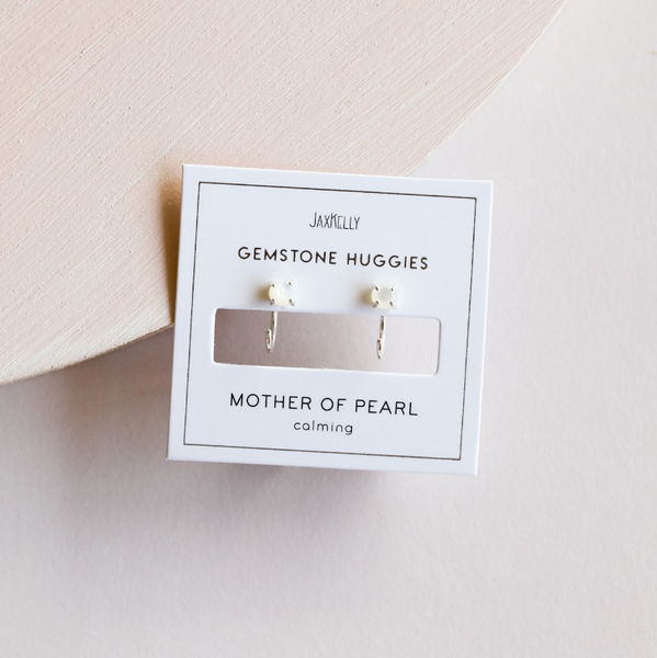 Mother of Pearl Huggie Earrings