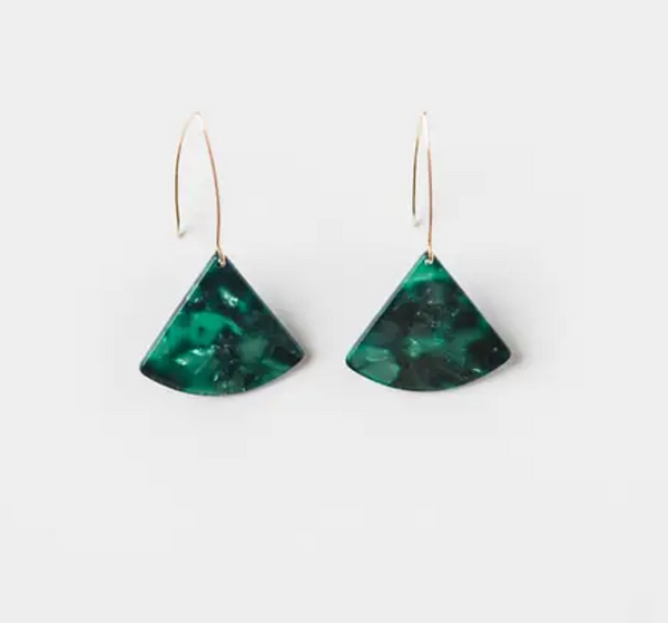 Emerald Triangle Dainty Drop Earrings