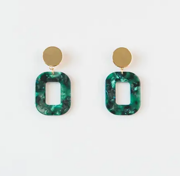 Emerald Acrylic Square Earrings