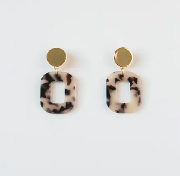 Natural Acrylic Square Earrings