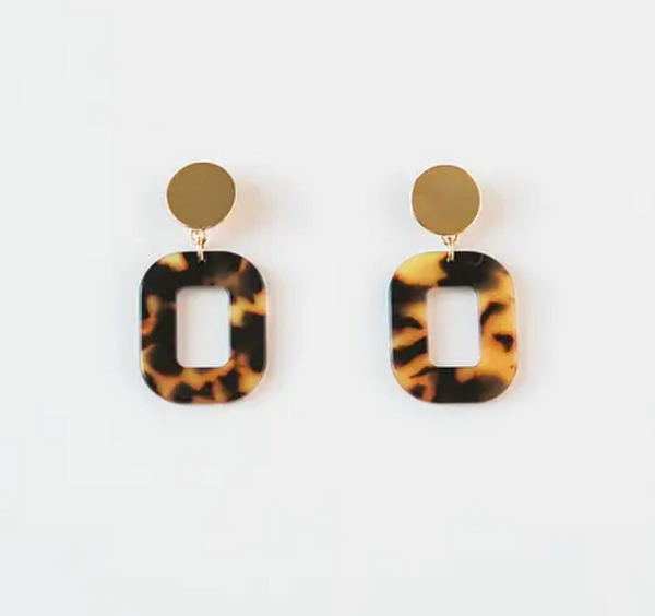 Amber Tortoise Acrylic Square Earrings