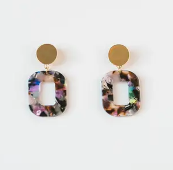Multicolor Acrylic Square Earrings