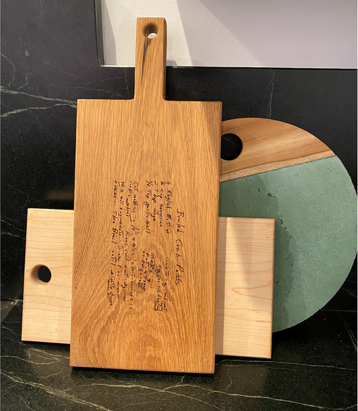 Recipe or Image Engrave Cutting Board with Handle