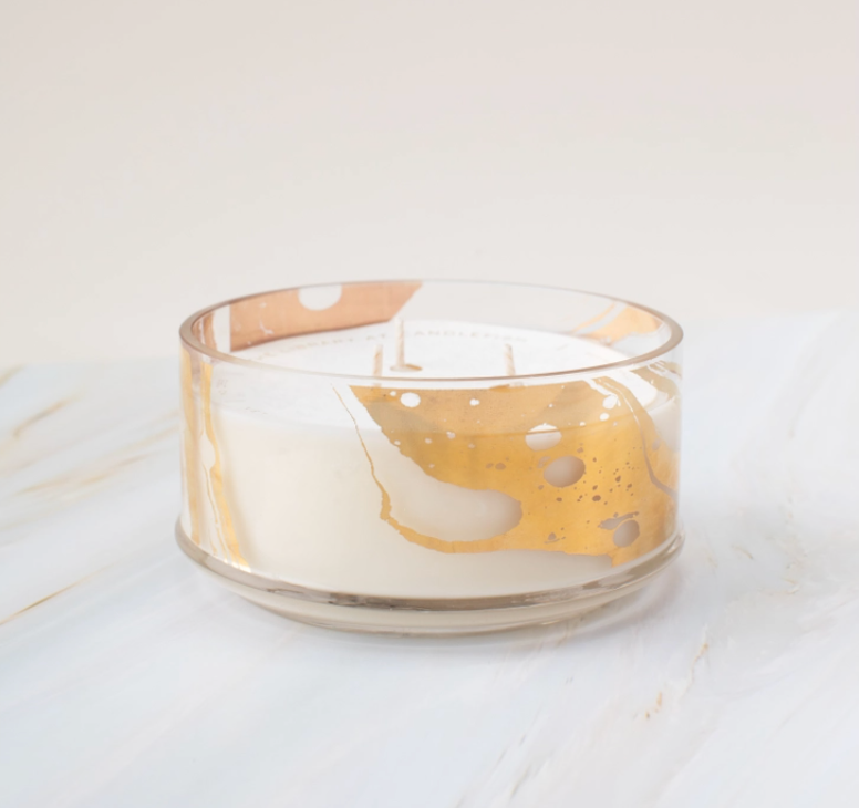 Gold Marble Glass Candle