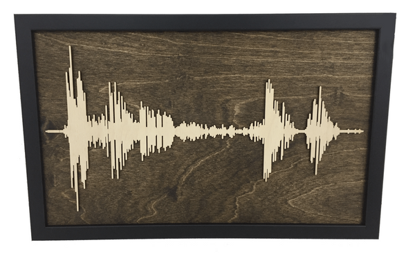 "Soundwave Art Framed Wood Layered Cutout - Large 19"" x 31"""