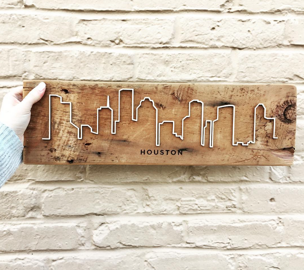 "Reclaimed Barn Wood City Scape - 20""x6"""