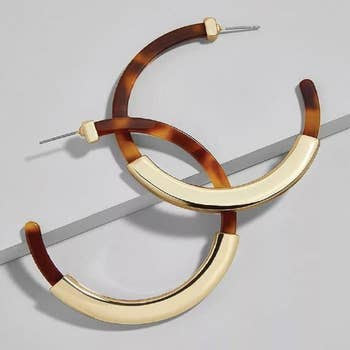 Tortoise Shell Hoop Earrings - Various Colors