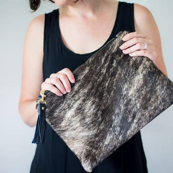 Hand Made Eloise Large Hair on Hide Clutch