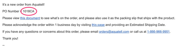 Distributor Email Showing PO Number