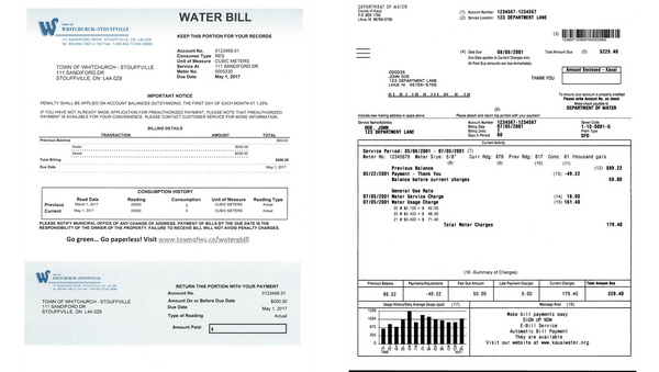 example of water bill