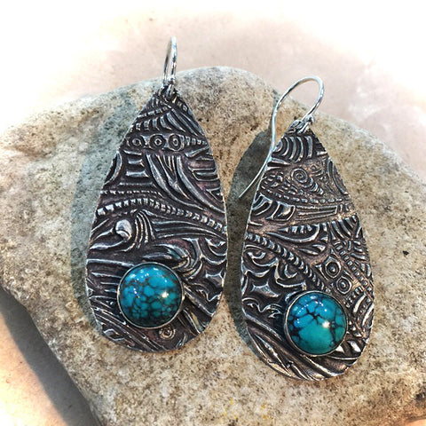 BEZEL SET TURQUOISE AND STERLING MOROCCAN EARRINGS - Stouffer Studios